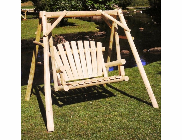 Log Style Fan Back Yard Swing Set