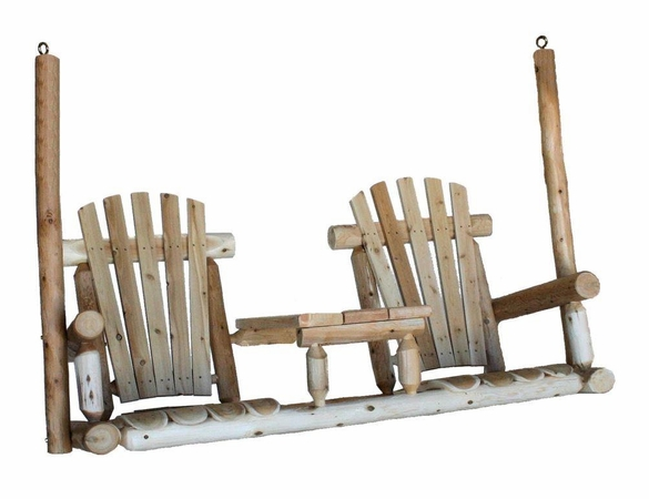 Log Style Tete A Tete Porch Swing