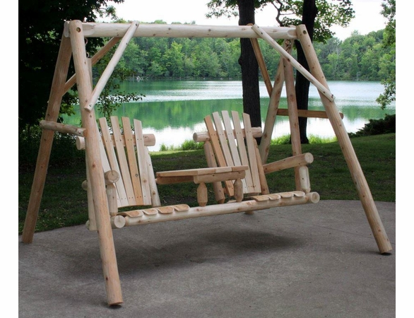 Log Style Tete A Tete Swing Set