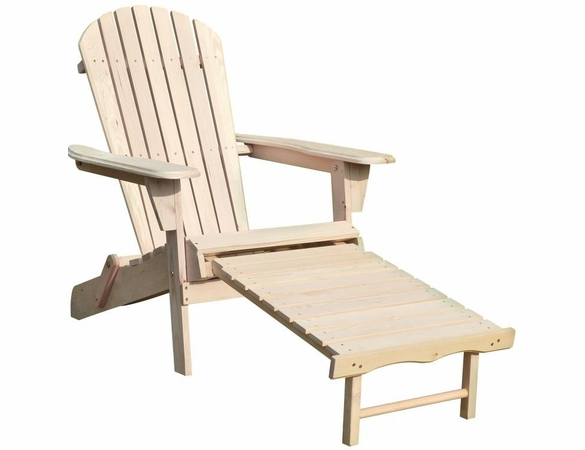 Natural Wood Folding Adirondack Chair w/ Retracting Ottoman Kit - Currently Out of Stock