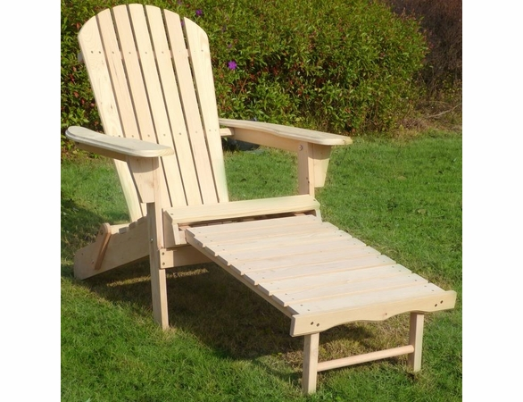 Natural Wood Folding Adirondack Chair w/ Retracting Ottoman Kit