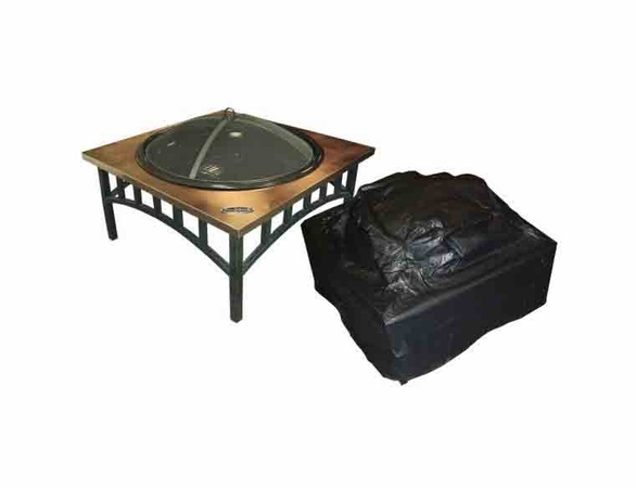 "Outdoor Square Fire Pit Vinyl Cover w/ Felt Lining - 38"" Square"