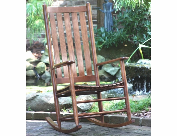 Outdoor Wooden High Back Rocking Chair