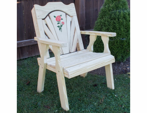 Pine Fanback Chair with Rose Design