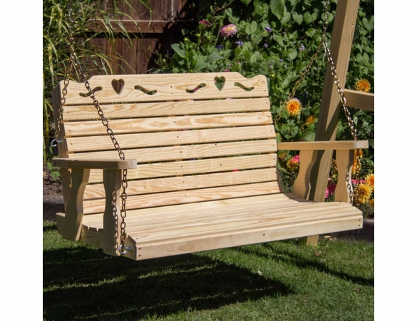 Pine Porch Swing with Heart Cutout