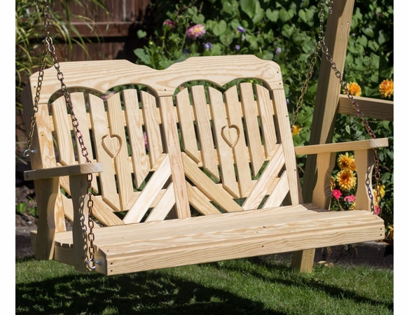 Pine Porch Swing with Heart Design
