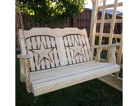 Pine Porch Swing with Starback Cutout