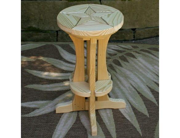 Pine Pub Stool with Star Design
