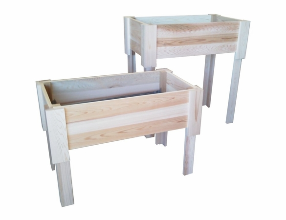 """Raised Cedar Planting Bed: 24"""" Wide Container Garden with Two Height Options - Exclusive Item - Not Currently Available"""