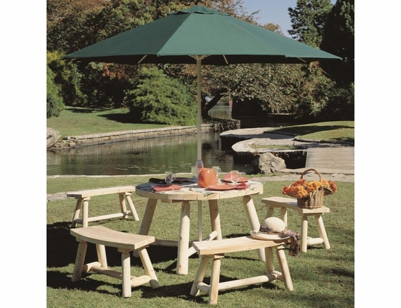 Round Cedar Picnic Table Group - Not Currently Available