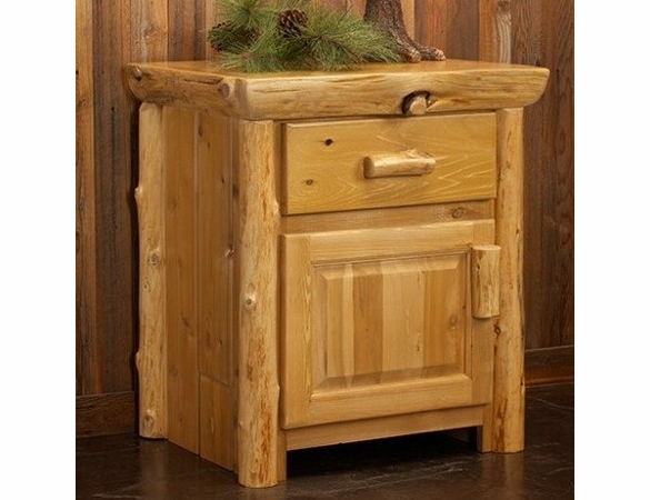 Rustic Log Style Bedside Table