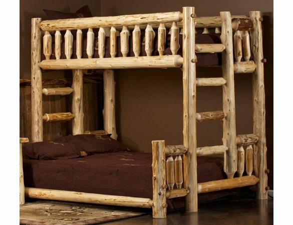 Rustic Log Style Bunk Beds - Different Sized Beds