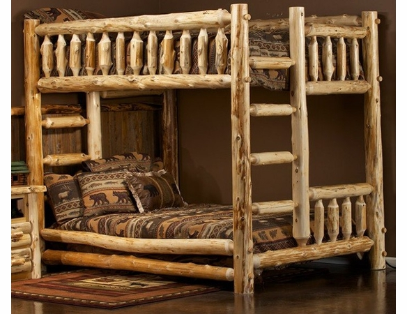 Rustic Log Style Bunk Beds - Same Sized Beds
