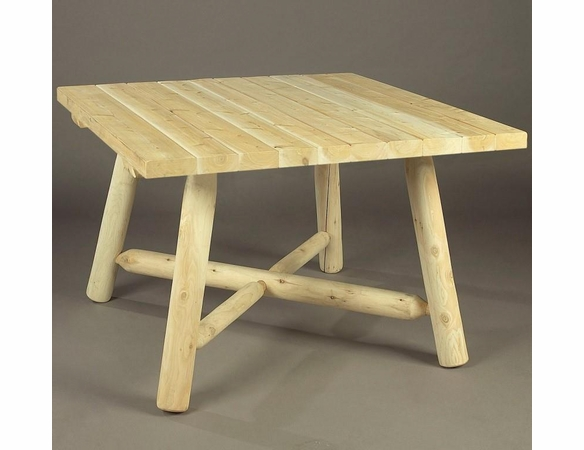 "Rustic Log Style Dining Table - 42"" Square"