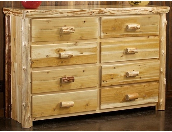 Rustic Log Style Dresser - 8 Drawers