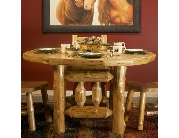 Rustic Log Style Picket Dining Table