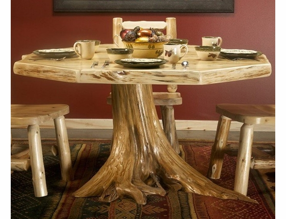 Rustic Log Style Octagonal Stump Dining Table