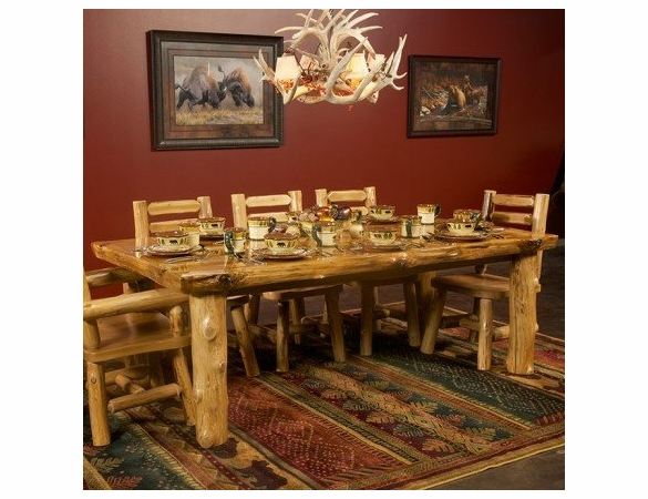 Rustic Log Style Rectangular Dining Table