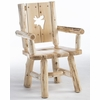 Rustic Log Style Silhouette Back Dining Arm Chair