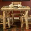 Rustic Log Style Square Dining Table