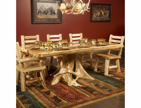 Rustic Log Style Stump Base Dining Table