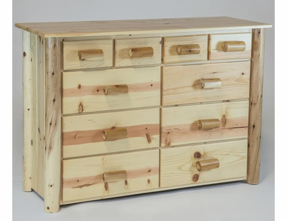 Rustic Pine & Log 10 Drawer Dresser