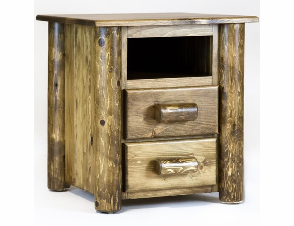 Rustic Pine & Log 2 Drawer Night Stand