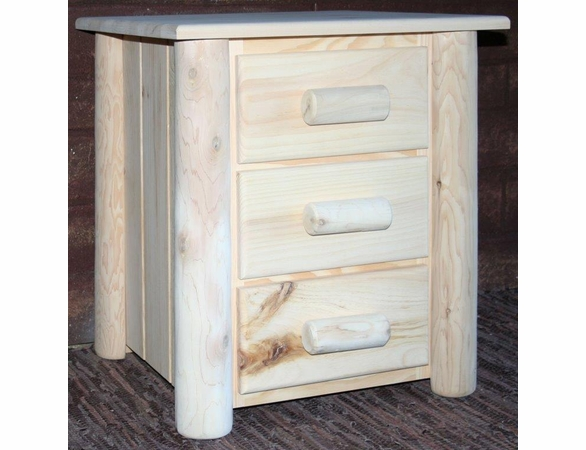 Rustic Pine & Log 3 Drawer Night Stand