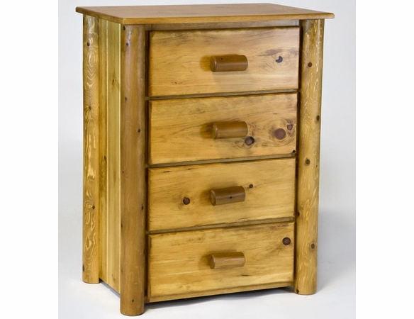 Rustic Pine & Log 4 Drawer Chest