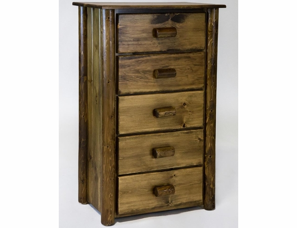 Rustic Pine & Log 5 Drawer Chest