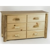 Rustic Pine & Log 6 Drawer Dresser