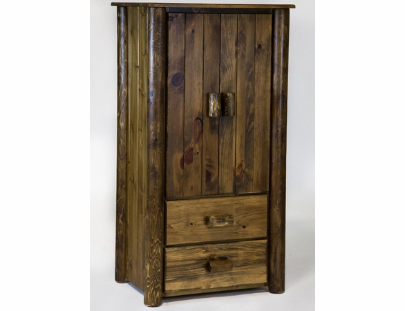 Rustic Pine & Log Armoire