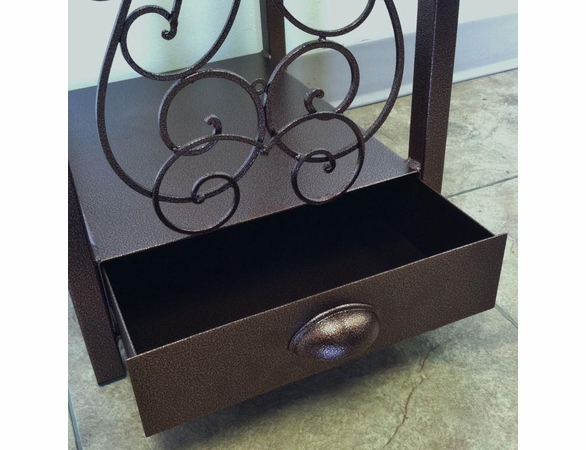 Tall Decorative Woodhaven Fireside Rack with Drawer