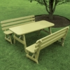 Pine Traditional Table with 2 Backed Benches 4', 5', 6', or 8'