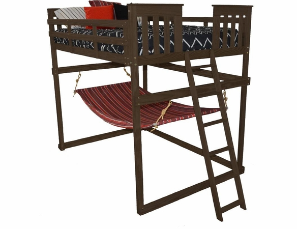 Full Mission Loft Bed Frame with Hammock