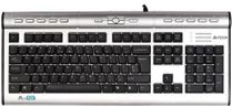 A4Tech KLS-7MUU 104-Key USB Wired X-Slim Multimedia NaturalA Keyboard w/USB 2.0 & 3.5mm Audio Ports (Gray/Black)