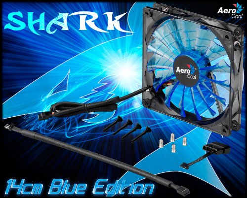 AeroCool Shark 140mm Blue Edition Case Fan with Variable Voltage