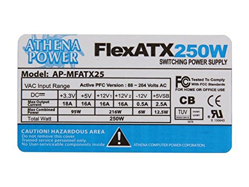 Athena Power MFATX25 250w Flex Atx Power Supply with 80-plus Certification  and Active Pfc