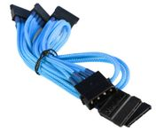 BattleBorn CB-M5SATA Molex to 5 x SATA Cable - Braided Light Blue