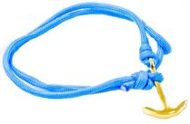 Mens/Womens Paracord Nautical Anchor Bracelet - Blue w/ Golden Anchor