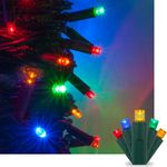 LED Multicolor Christmas Mini Light Set, 50 5mm Lights, Indoor / Outdoor Christmas Light Decorations, Green Wire