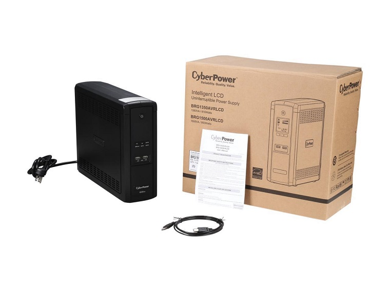 CyberPower BRG1500AVRLCD Intelligent LCD UPS System, 1500VA/900W, 12  Outlets, AVR, Mini-Tower