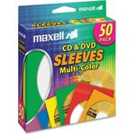 Maxell 190134 CD-401 Multi-Color CD & DVD Sleeve Plastic - Assorted, Clear CD-401