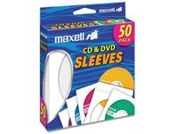 Maxell 190135 CD-400 CD/DVD Sleeves (50-Pack) - Sleeve - Slide Insert - White 50PK