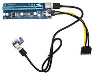 Pci-e 16x to 1x Powered Riser Adapter Card W/ Usb 3.0 Extension & 6-pin Molex to Sata Cable