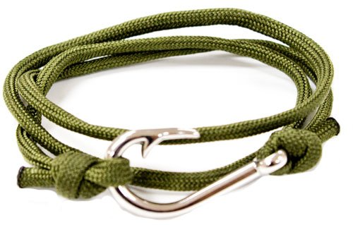 Add Review For Olive Braided Paracord Fish Hook Bracelet