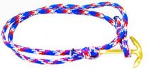 Red, White, Blue Paracord Fish Hook Nautical Anchor Bracelet Golden