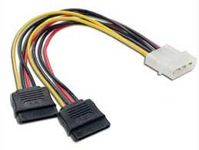 "Syba 5.5"" 4pin Power to 2x 15-Pin SATA Power Adapter Cable"