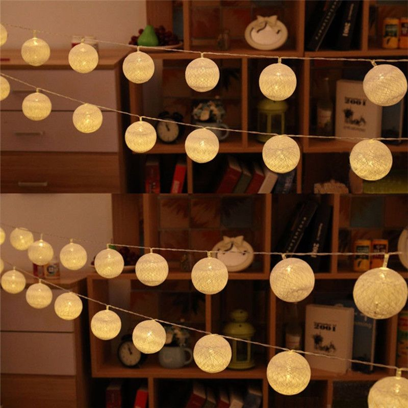 5 5 Ft 10 Led Battery Operated Beige Round Cotton Ball