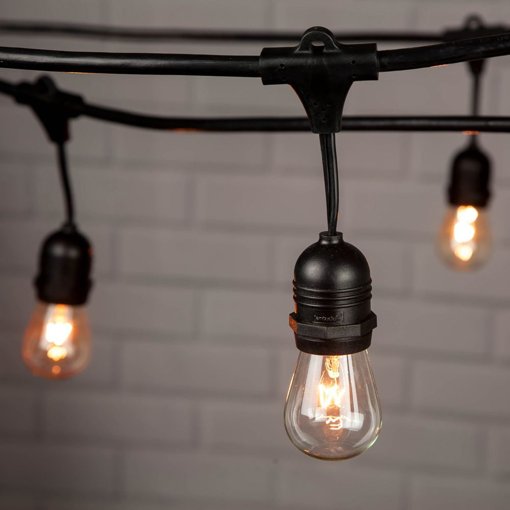 10 Suspended Socket Outdoor Commercial String Light Set S14 Bulbs 21 Ft Black Cord W E26 Medium Base Weatherproof